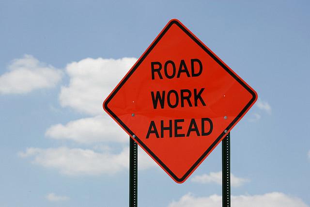 Road work ahead traffic sign